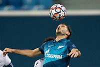 SAINT-PETERSBURG, RUSSIA - OCTOBER 20: Sardar Azmoun of Zenit St Petersburg headers the ball during the UEFA Champions League Group F match between Zenit St Petersburg and Club Brugge KV at Gazprom Arena on October 20, 2020 in Saint-Petersburg, Russia [Photo by MB Media]