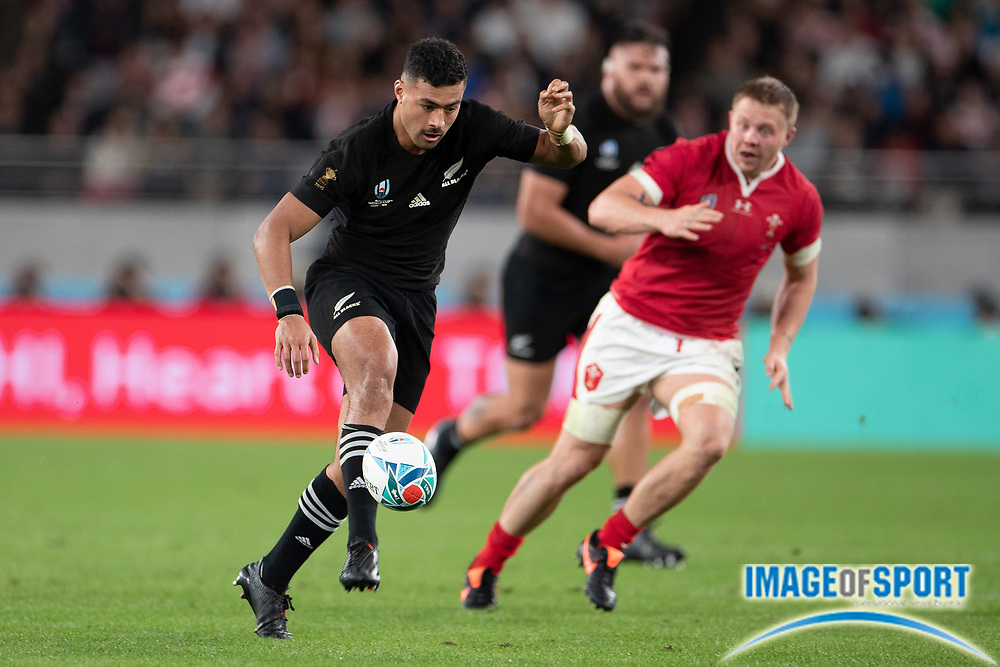 Richie Mo'unga of New Zealand kicks the ball during the Rugby World Cup bronze final match between New Zealand and Wales,  Friday, Nov, 1, 2019, in Tokyo. New Zealand defeated Wales 40-17.( Flor Tan Jun/Espa-Images-Image of Sport)