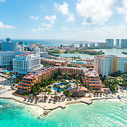 Aerial view of Cancun hotel zone. Quintana Roo, Mexico.