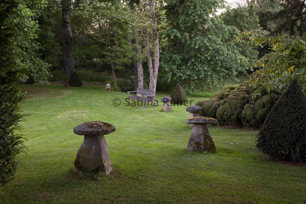 Stone ornaments, Cothay Manor, Somerset