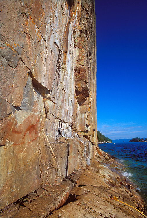 An ancient Ojibwa pictograph depicting Misshepezhieu, the horned lynx demigod of Lake Superior is seen at Agawa Rock in Lake Superior Provincial Park near Wawa, Ontario.