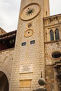 Sponza Palace and belltower in old town Dubrovnik, Dalmatian Coast, Croatia