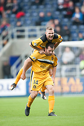 Dumbarton's Garry Fleming cele scoring their first goal.<br /> Half time : Falkirk 1 v 2 Dumbarton, Scottish Championship game played today at the Falkirk Stadium.<br /> ©Michael Schofield.