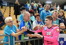Rok Zaponsek and his fans after friendly handball match between Slovenia and Srbija, on October 27th, 2019 in Športna dvorana Lukna, Maribor, Slovenia. Photo by Milos Vujinovic / Sportida