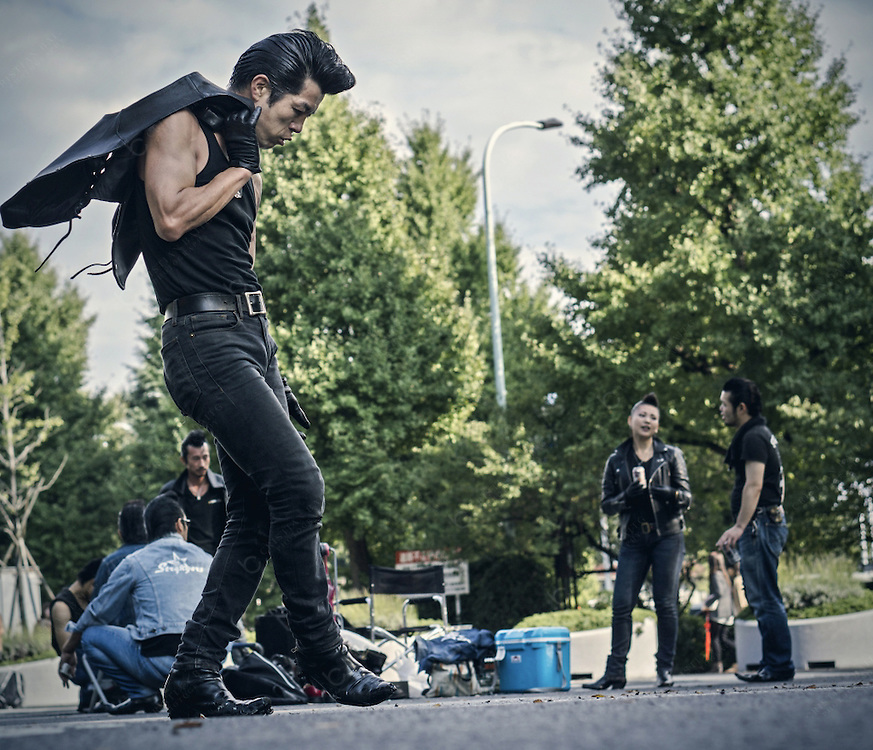 Rockabillies in Yoyogi Park in Tokyo. Located near the Harajuku station this is the fourth biggest park of the city and is well known because it is a big meeting point for young people on sunday from Cosplay players to this rokabilly gangs.