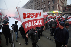 November 11, 2018 - Warsaw, Poland - Crowds are seen in the center of Warsaw on November 11, 2018 ahead of the traditional Independence Day March. This year marks the centennial of the Polish Republic however celebrations in previous years have been tainted by the presence of right-wing groups carrying banners with racist and xenophobic slogans. This year the government has organised its own march, the Dla Ciebie Polsko, For You Poland march. Right-wing organisations will be blocked by authorities in their attempt to follow the traditional route through the city sparking fears of violence. (Credit Image: © Jaap Arriens/NurPhoto via ZUMA Press)