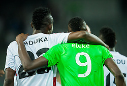 Christopher Udeh of AS Trencin and Blessing Eleke of NK Olimpija after the 1st Leg football match between NK Olimpija Ljubljana (SLO) and FK AS Trenčin (SVK) in Second Qualifying Round of UEFA Champions League 2016/17, on July 13, 2016 in SRC Stozice, Ljubljana, Slovenia. Photo by Vid Ponikvar / Sportida