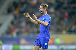 November 14, 2017 - Bucharest, Romania - Holland's Luuk de Jong celebrates a goal during International Friendly match between Romania and Netherlands at National Arena Stadium in Bucharest, Romania, on 14 november 2017. (Credit Image: © Alex Nicodim/NurPhoto via ZUMA Press)