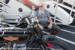 Vern Acres of Ontario, Canada relaxes after a long day on his 4-cylinder 1914 Henderson class-2 motorcycle during the Motorcycle Cannonball Race of the Century. Stage-3 from Morgantown, WV to Chillicothe, OH. USA. Monday September 12, 2016. Photography ©2016 Michael Lichter.