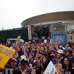 Jan 9, 2012; New Orleans, LA, USA; Fans attend a pep rally in champions plaza before the 2012 BCS National Championship game between the LSU Tigers and the Alabama Crimson Tide at the Mercedes-Benz Superdome.  Mandatory Credit: Derick E. Hingle-US PRESSWIRE