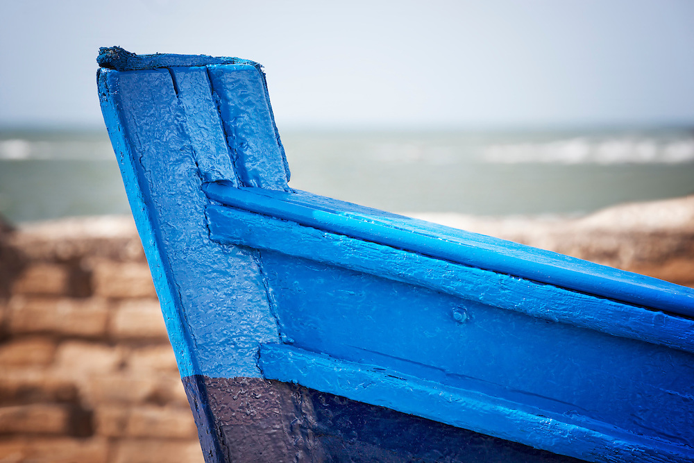 Detail of a blue fishing boat in Essaouira.