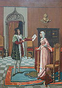 Enrique (Henry) de Aragon with his Wife who has been Elected Master of Calatrava [D. Enrique de Aragon Participa a su Esposa que ha sido Elecido Maestre de Calatrava] From the book La ciencia y sus hombres : vidas de los sabios ilustres desde la antigüedad hasta el siglo XIX T. 3  [Science and its men: lives of the illustrious sages from antiquity to the 19th century Vol 3] By by Figuier, Louis, (1819-1894); Casabó y Pagés, Pelegrín, n. 1831 Published in Barcelona by D. Jaime Seix, editor , 1879 (Imprenta de Baseda y Giró)