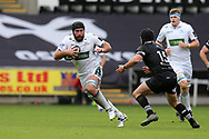Callum Gibbins of Glasgow goes past Dan Evans of the Ospreys (r). Guinness Pro14 rugby match, Ospreys v Glasgow Warriors Rugby at the Liberty Stadium in Swansea, South Wales on Sunday 26th November 2017. <br /> pic by Andrew Orchard, Andrew Orchard sports photography.