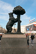 Puerta del Sol, Madrid, Spain bear and berry tree statue the symbol of Madrid city