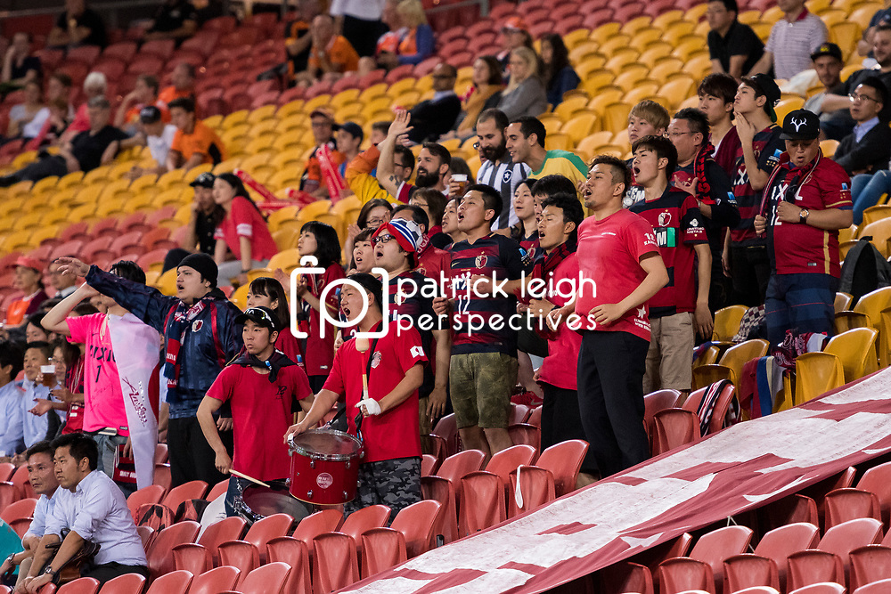 BRISBANE, AUSTRALIA - APRIL 12: Kashima Antlers fans sing during the Asian Champions League Group Stage match between the Brisbane Roar and Kashima Antlers at Suncorp Stadium on April 12, 2017 in Brisbane, Australia. (Photo by Patrick Kearney/Brisbane Roar)