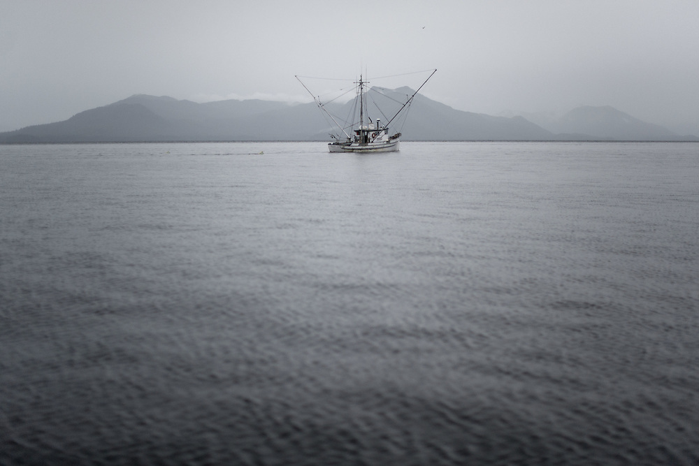 A fishing boat sets out for the day near Ketchikan, AK Sept 27, 2009.