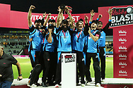 Worcestershire Rapids Moeen Ali raises the winners trophy during the final of the Vitality T20 Finals Day 2018 match between Worcestershire rapids and Sussex Sharks at Edgbaston, Birmingham, United Kingdom on 15 September 2018.