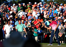 April 8, 2017 - Augusta, GA, USA - Sergio Garcia pumps his fist after sinking a putt on the 18th green during the third round of the Masters Tournament at Augusta National Golf Club in Augusta, Ga., on Saturday, April 8, 2017. Garcia finished the round tied for first with Justin Rose at 6-under. (Credit Image: © Jeff Siner/TNS via ZUMA Wire)