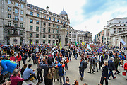 """Extinction Rebellion environmental activists group started its fifth day of two-week protest campaign outside the Bank of England in London on Friday, Aug 27, 2021.<br /> Activists said that the wealth of this country is """"blood wealth"""" as to this day the country use its financial and armed power to exploit resources elsewhere. (VX Photo/ Vudi Xhymshiti)"""