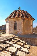 Dome of the Byzantine Episkopi Church ( Saint Dionysis ), Paliachora,  Aegina, Greek Saronic Islands .<br /> <br /> If you prefer to buy from our ALAMY PHOTO LIBRARY  Collection visit : https://www.alamy.com/portfolio/paul-williams-funkystock/aegina-greece.html <br /> <br /> Visit our GREECE PHOTO COLLECTIONS for more photos to download or buy as wall art prints https://funkystock.photoshelter.com/gallery-collection/Pictures-Images-of-Greece-Photos-of-Greek-Historic-Landmark-Sites/C0000w6e8OkknEb8