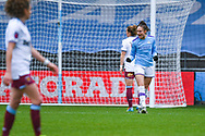Manchester City Women forward Tessa Wullaert (25) scores a goal and celebrates to make the score 5-0 during the FA Women's Super League match between Manchester City Women and West Ham United Women at the Sport City Academy Stadium, Manchester, United Kingdom on 17 November 2019.