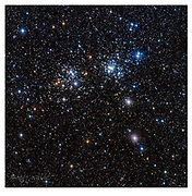 The Double cluster in constellation Perseus. (Celestron RASA 8, f2, ZWO ASI1600, 60x30secs through RGB-filters, total 1.5hrs exp.)