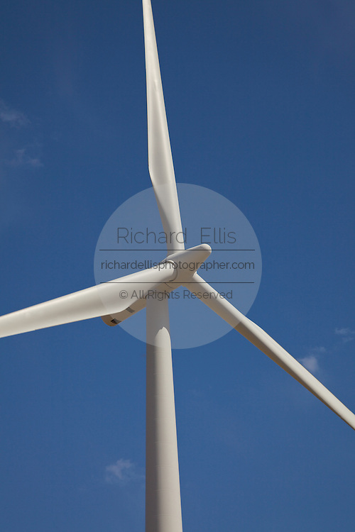 Detail of the blades of wind turbines generating electrical power at Horse Hollow Wind Farm, Nolan county, Texas the world's largest wind power project.