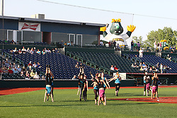 18 May 2012:  Dancers perform during a Frontier League Baseball game between the Windy City Thunderbolts and the Normal CornBelters at Corn Crib Stadium on the campus of Heartland Community College in Normal Illinois