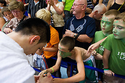 Alen Omic of Slovenia with fans after the basketball match between National teams of Slovenia and Spain in Qualifying Round of U20 Men European Championship Slovenia 2012, on July 18, 2012 in Domzale, Slovenia. Slovenia defeated Spain 70-63. (Photo by Vid Ponikvar / Sportida.com)