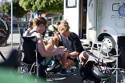 Geerike Schreurs prepares Kirsten Wild for the Crescent Vargarda - a 42.5 km team time trial, starting and finishing in Vargarda on August 11, 2017, in Vastra Gotaland, Sweden. (Photo by Sean Robinson/Velofocus.com)