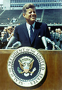 John F Kennedy (1917-1963) 35th President of the United States of America (1961-1963) spaking on travel to the Moon, Rice University Stadium 12 September 1962. Applauding on left is Lyndon B Johnson.
