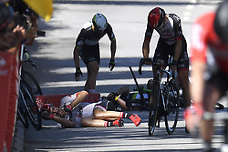 July 4, 2017 - Mondorf Les Bains / Vittel, Luxembourg / France - VITTEL, FRANCE - JULY 4 : Crash DEGENKOLB John (GER) Rider of Trek - Segafredo, CAVENDISH Mark (GBR) Rider of Team Dimension Data during stage 4 of the 104th edition of the 2017 Tour de France cycling race, a stage of 207.5 kms between Mondorf-Les-Bains and Vittel on July 04, 2017 in Vittel, France, 4/07/2017 (Credit Image: © Panoramic via ZUMA Press)