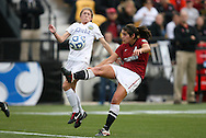 04 December 2011: Duke's Molly Lester (left) gets the ball from Stanford's Alina Garciamendez (right). The Stanford University Cardinal played the Duke University Blue Devils at KSU Soccer Stadium in Kennesaw, Georgia in the NCAA Division I Women's Soccer College Cup Final.