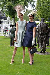 Left to right, sisters LADY ALICE MANNERS and LADY VIOLET MANNERS at the 1st day of the Royal Ascot Racing Festival 2015 at Ascot Racecourse, Ascot, Berkshire on 16th June 2015.