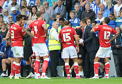 Bristol City manager, Steve Cotterill speaks to his team during an injury break - Mandatory byline: Dougie Allward/JMP - 07966386802 - 08/08/2015 - FOOTBALL - Hillsborough Stadium -Sheffield,England - Sheffield Wednesday v Bristol City - Sky Bet Championship