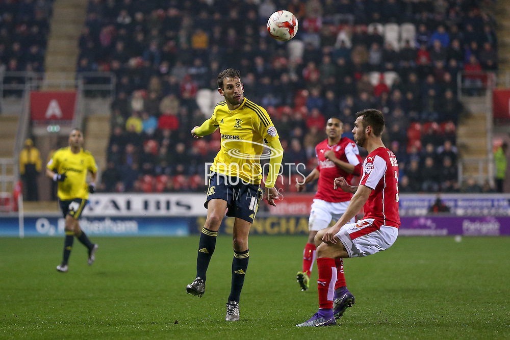 Middlesbrough forward Christian Stuani (18)  chips the ball into the box during the Sky Bet Championship match between Rotherham United and Middlesbrough at the New York Stadium, Rotherham, England on 8 March 2016. Photo by Simon Davies.