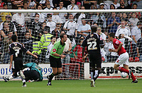 Photo: Paul Thomas.<br /> Walsall v Swansea. Coca Cola League 1.<br /> 27/08/2005.<br /> <br /> Matthew Fryatt scores for Walsall from the penalty spot, sending goal keeper Willy Gueret the wrong way.