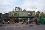 Pop Brixton on 29th July 2015 in South London, United Kingdom. Pop Brixton is a community project, event venue and area of independent community retailers, restaurants, street food, startups and social enterprises