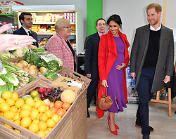 Prince Harry and Meghan Markle visit Number 7, a Feeding Birkenhead citizen's supermarket and community café, to official open the new premises in Birkenhead, Merseyside, UK, on the 14th January 2019. Picture by Anthony Devlin/WPA-Pool. 14 Jan 2019 Pictured: Meghan Markle, Duchess of Sussex, Prince Harry, Duke of Sussex. Photo credit: MEGA TheMegaAgency.com +1 888 505 6342