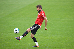 CARDIFF, WALES - Saturday, June 4, 2016: Wales' Joe Ledley during a training session at the Vale Resort Hotel ahead of the International Friendly match against Sweden. (Pic by David Rawcliffe/Propaganda)
