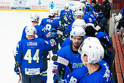 Slovenian team celebrating goal during OI pre-qualifications of Group G between Slovenia men's national ice hockey team and Croatia men's national ice hockey team, on February 7, 2020 in Ice Arena Podmezakla, Jesenice, Slovenia. Photo by Peter Podobnik / Sportida
