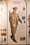 Display board picture of First World War soldier 1914-1918 with permission of Chippenham museum, Wiltshire, England, UK