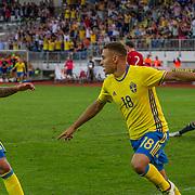 Uddevalla 2016 06 03 Rimnersvallen<br /> U21 kval<br /> Sweden vs Georgia<br /> Debutanten Jordan Larsson avgör matchen 3-2<br /> <br /> <br /> <br /> ----<br /> FOTO : JOACHIM NYWALL KOD 0708840825_1<br /> COPYRIGHT JOACHIM NYWALL<br /> <br /> ***BETALBILD***<br /> Redovisas till <br /> NYWALL MEDIA AB<br /> Strandgatan 30<br /> 461 31 Trollhättan<br /> Prislista enl BLF , om inget annat avtalas.