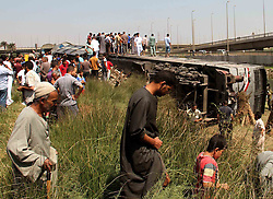 CAIRO, Sept. 7, 2016 (Xinhua) -- People stay around the derailed train in the district of Ayat in Giza, Egypt on Sept. 7, 2016. A train derailment accident in Egypt's Giza governorate killed five people and injured 27 others on Wednesday, reported the state-run MENA news agency. .(Xinhua/STR)(yk) (Credit Image: © Str/Xinhua via ZUMA Wire)