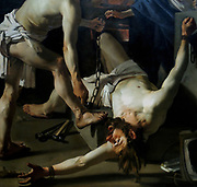 Prometheus Being Chained by Vulcan Dirck van Baburen (c.1595-1624) oil on canvas, 1623.  Prometheus stole fire from the gods and gave it to mankind.  As punishment, Vulcan chained him to a rock, where an eagle pecked out his liver causing him excruciating pain.  Here we see Prometheus being chained, his face contorted with fear, while Mercury laughs at him.  Van Baburen borrowed the dramatic illustration and the figure's sunburned hands and face from his great model Caravaggio.