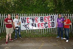 Fans pose with a banner protesting against the price of tickets - Mandatory byline: Dougie Allward/JMP - 07966386802 - 08/08/2015 - FOOTBALL - Hillsborough Stadium -Sheffield,England - Sheffield Wednesday v Bristol City - Sky Bet Championship
