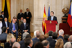24.06.2015, Palacio Real, Madrid, ESP, Festakt zu 30 Jahre EU Mitgliedschaft Spaniens, im Bild Spanish Prime Minister Mariano Rajoy (r) in presence of King Felipe VI of Spain (c) and King Juan Carlos (l) during // attends the 30th Anniversary of Spain being part of European Communities at the Palacio Real in Madrid, Spain on 2015/06/24. EXPA Pictures © 2015, PhotoCredit: EXPA/ Alterphotos/ POOL/ Ricardo Garcia<br /> <br /> *****ATTENTION - OUT of ESP, SUI*****