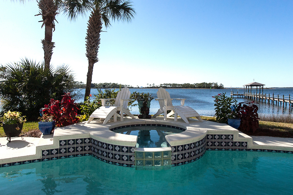Pool With Spa Overlooking Bay. Photo Credit: © Rick Cooper Photography