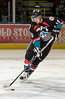 KELOWNA, CANADA, DECEMBER 3: Brett Bulmer #19 of the Kelowna Rockets skates with the puck as the Prince George Cougars visit the Kelowna Rockets  on December 3, 2011 at Prospera Place in Kelowna, British Columbia, Canada (Photo by Marissa Baecker/Shoot the Breeze) *** Local Caption ***