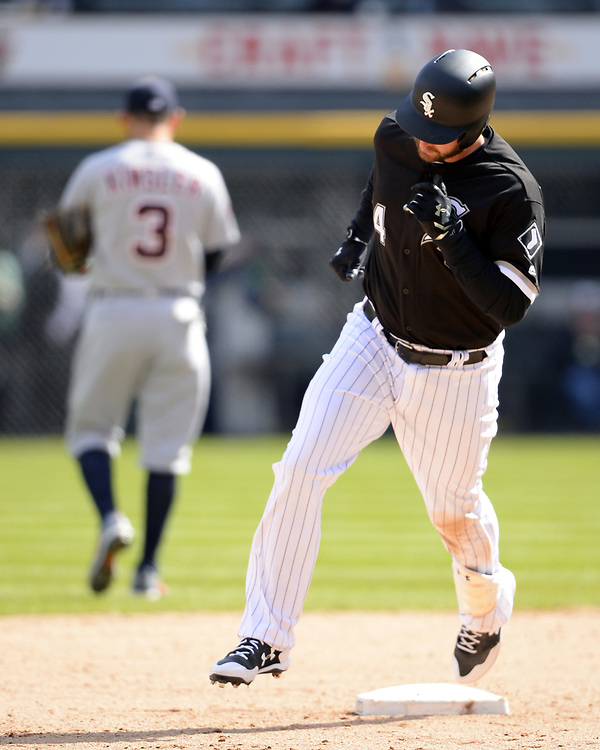 CHICAGO - APRIL 06:  Matt Davidson #24 of the Chicago White Sox runs the bases after hitting a home run against the Detroit Tigers on April 6, 2017 at Guaranteed Rate Field in Chicago, Illinois.  The White Sox defeated the Tigers 11-2.  (Photo by Ron Vesely)   Subject:  Matt Davidson